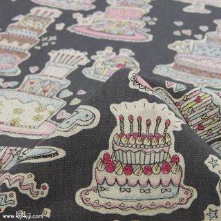 【cotton linen】HAPPY BIRTHDAY !|コットンリネンキャンバス|カワグチミヤコデザイン|チャコールグレー|