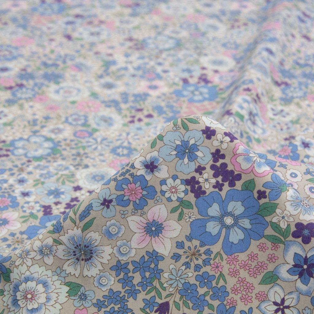 【コットンブロード】spring flower|スプリングフラワー|小花柄|コットンブロード|グレージュ+ブルー|