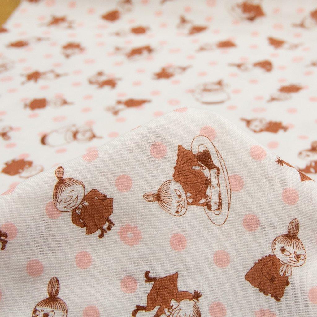 【wg】Moomin fabrics|リトルミイ&ポルカドット|ムーミン|コットンダブルガーゼ|オフホワイト|