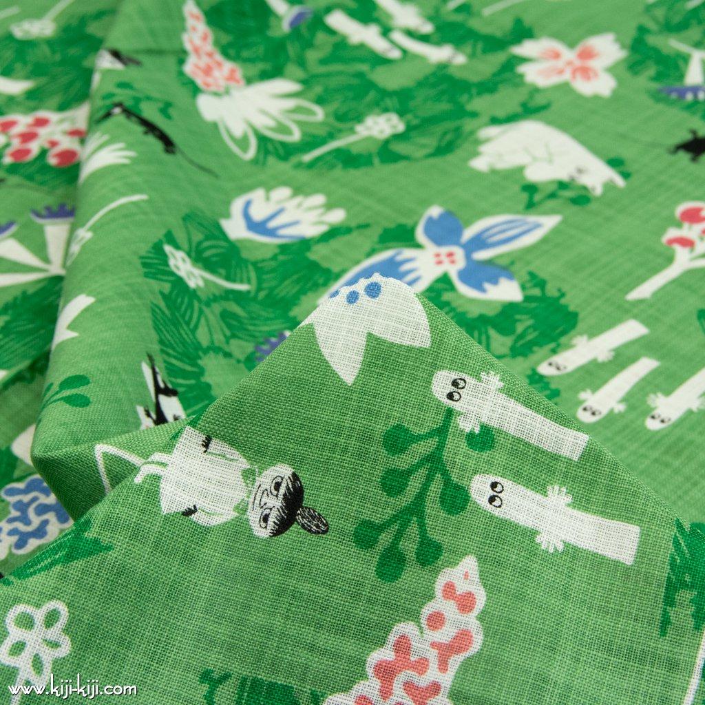 【cotton】Moomin fabrics|花のポルカ|コットンモーリークロス|グリーン|