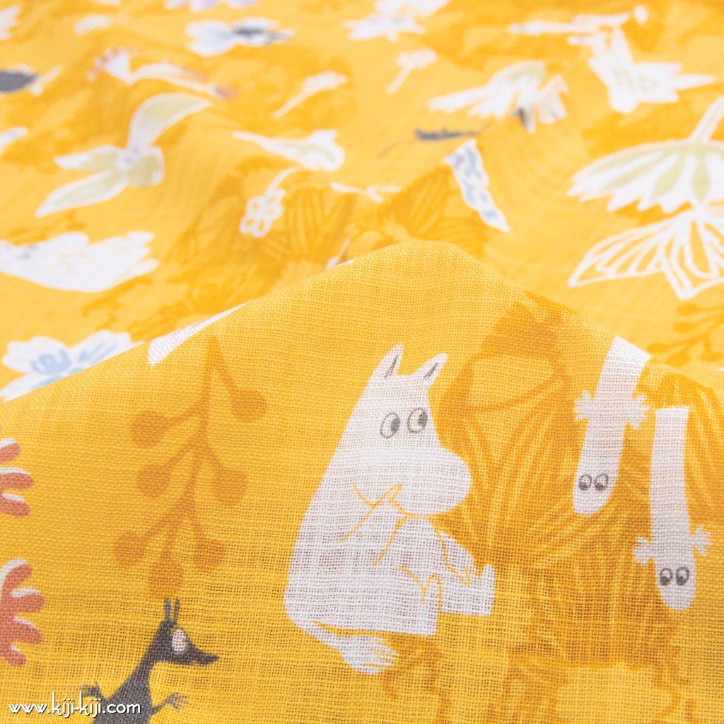 【cotton】Moomin fabrics|花のポルカ|コットンモーリークロス|イエロー|