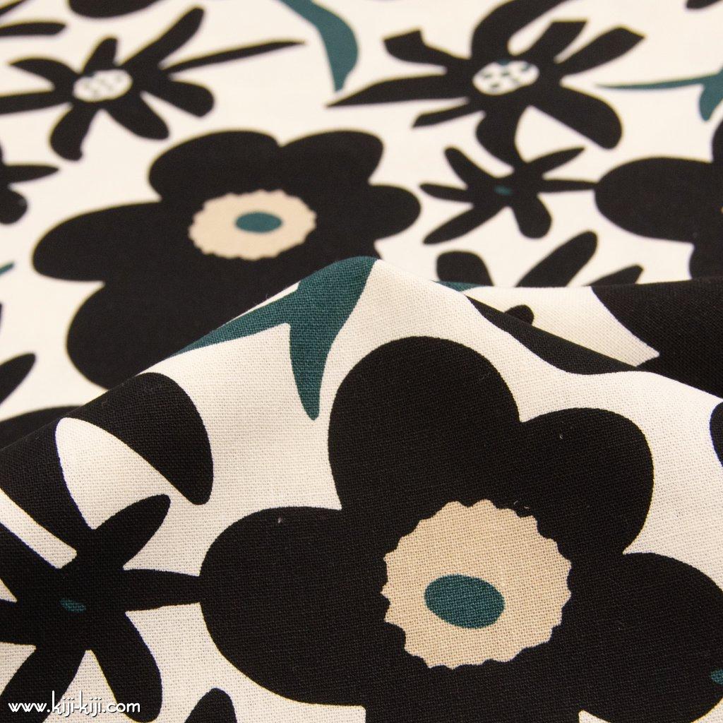 【cotton canvas】Flowers bloom|フラワーブルーム|北欧風デザイン|花柄|コットン10/1キャンバス|オフホワイト+ブラック|