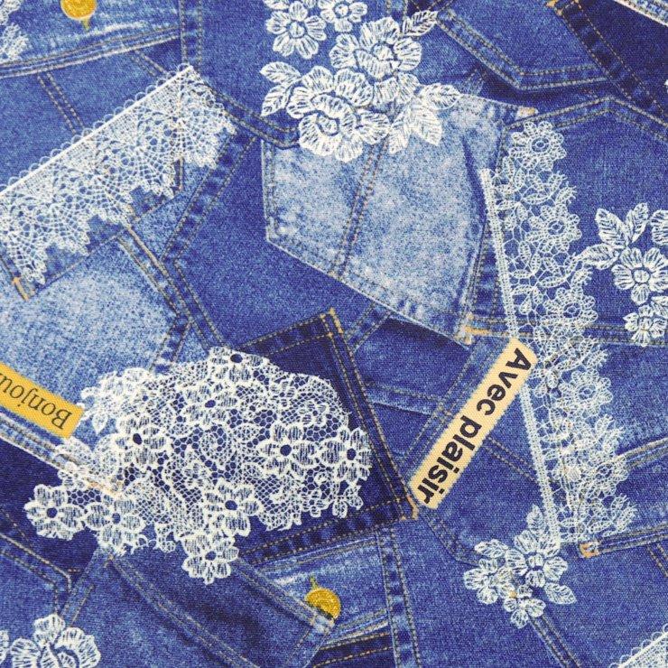 【cotton】denim lace×cotton oxford|デニムレース×コットンオックス|デニムブルー|
