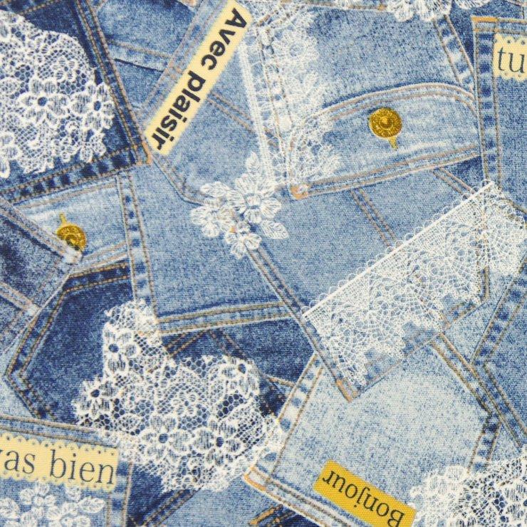 【cotton】denim lace×cotton oxford|デニムレース×コットンオックス|ユーズドブルー|