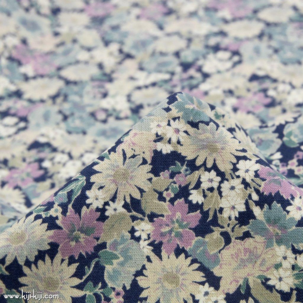 【cotton linen canvas】spring natural flower スプリングナチュラルフラワー 花柄 コットンリネンキャンバス ネイビー 