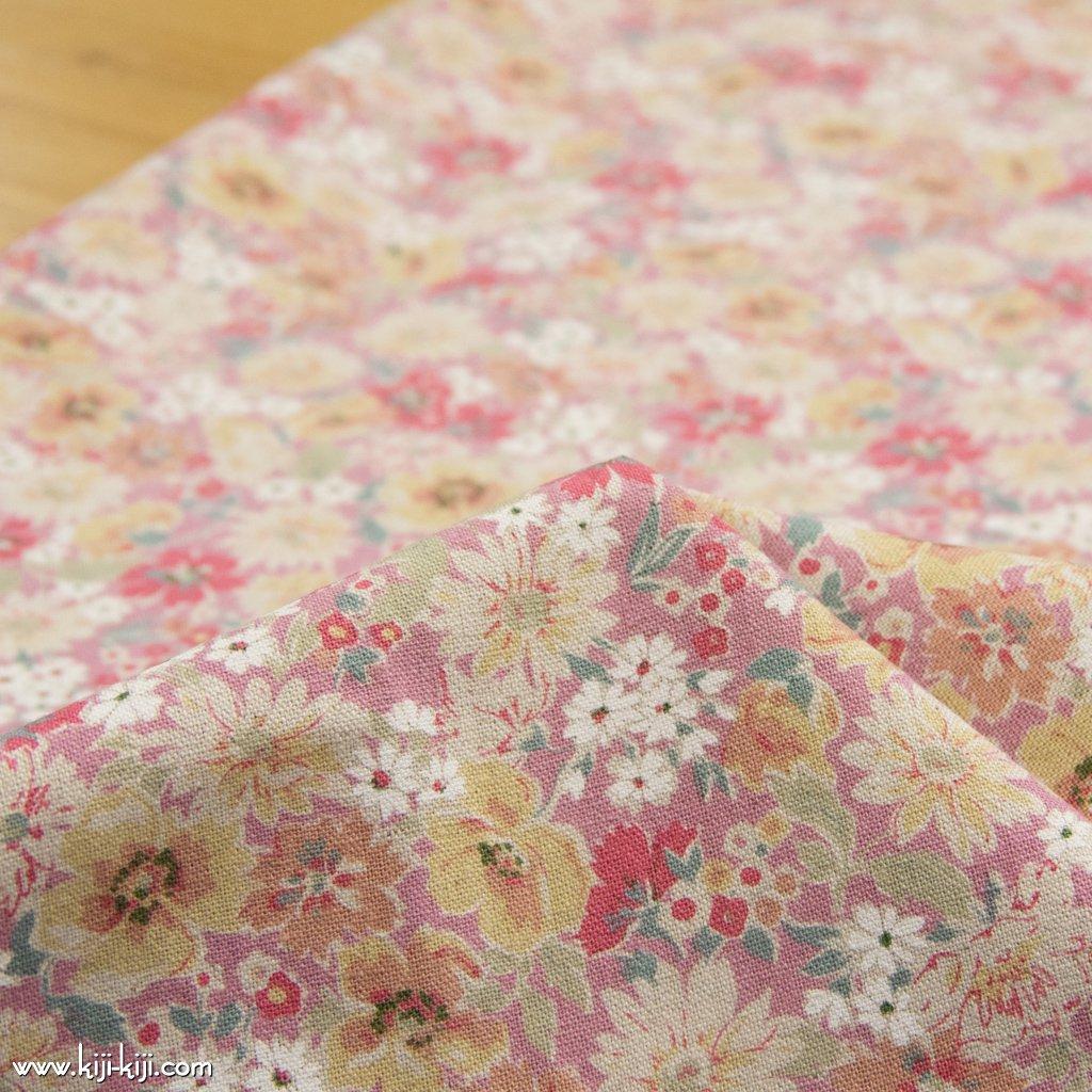 【cotton linen canvas】spring natural flower スプリングナチュラルフラワー 花柄 コットンリネンキャンバス スモークピンク 