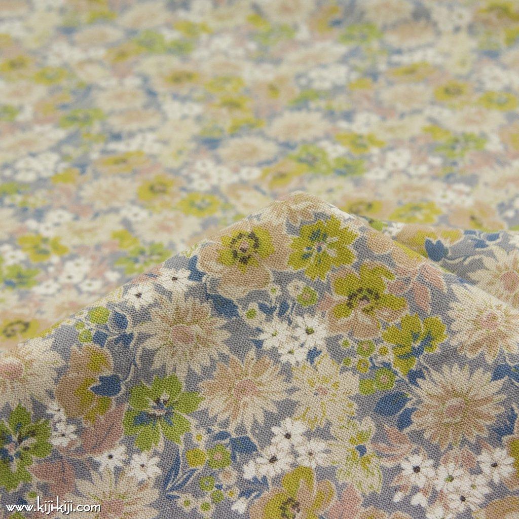 【cotton linen canvas】spring natural flower スプリングナチュラルフラワー 花柄 コットンリネンキャンバス グレー 