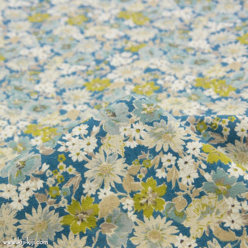 【cotton linen canvas】spring natural flower スプリングナチュラルフラワー 花柄 コットンリネンキャンバス スモークブルー 