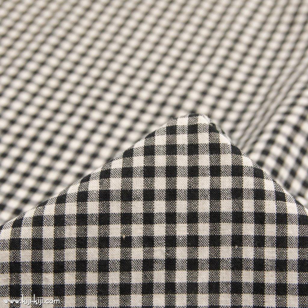 【cotton linen】西脇で織られたコットンリネンのモノトーンチェック|コットンリネン|約3mmギンガムチェック|