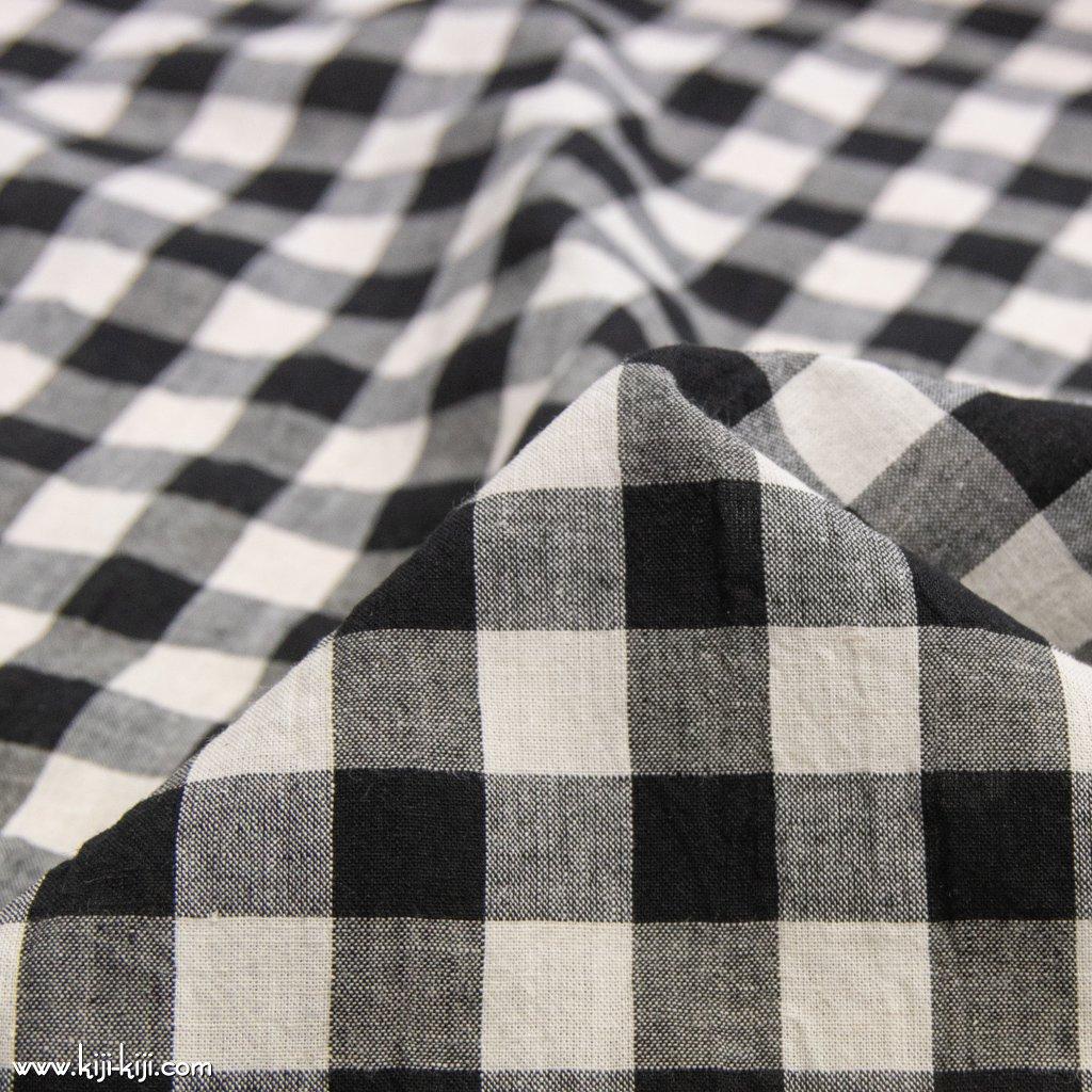 【cotton linen】西脇で織られたコットンリネンのモノトーンチェック|コットンリネン|約16mmギンガムチェック|