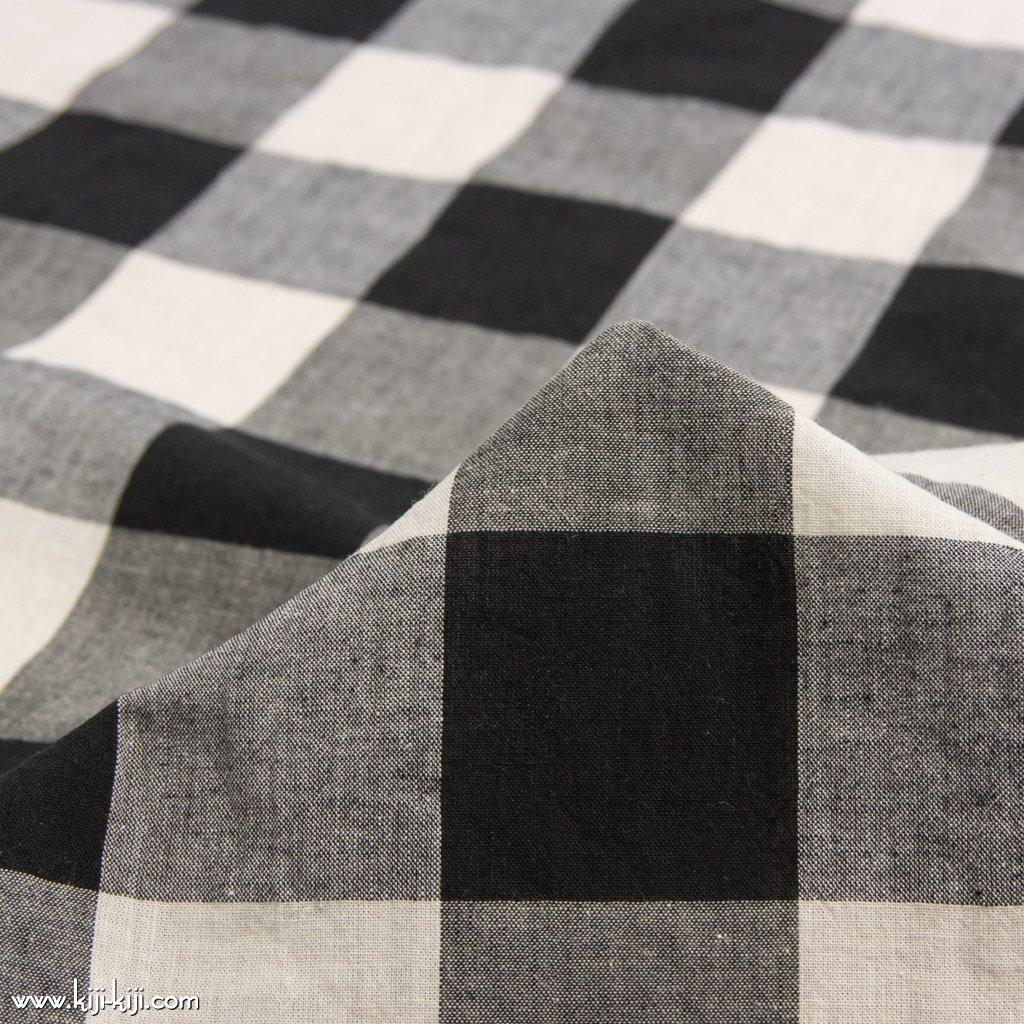 【cotton linen】西脇で織られたコットンリネンのモノトーンチェック|コットンリネン|約50mmギンガムチェック|