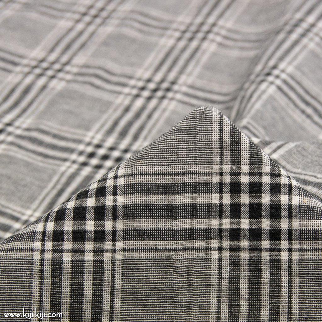 【cotton linen】西脇で織られたコットンリネンのモノトーンチェック|コットンリネン|タータンチェック|