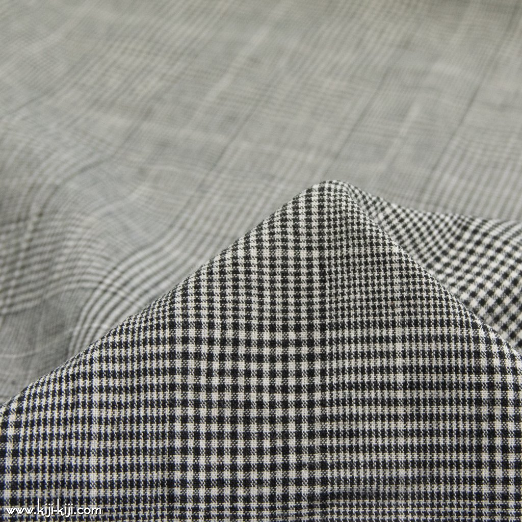 【cotton linen】西脇で織られたコットンリネンのモノトーンチェック|コットンリネン|グレンチェック|