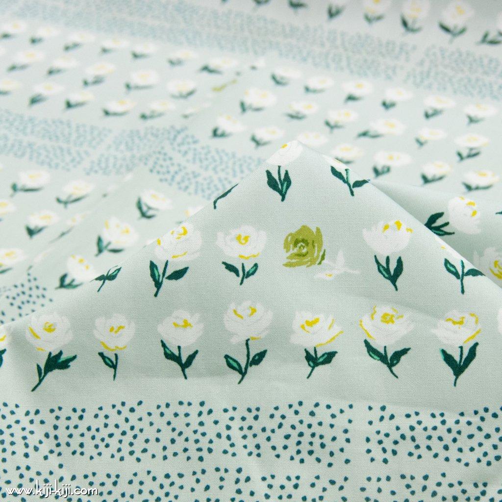 【USAコットン】Kukkia puutarhassa|ART GALLERY FABRICS|にわのはなたち|スモークペールミント|