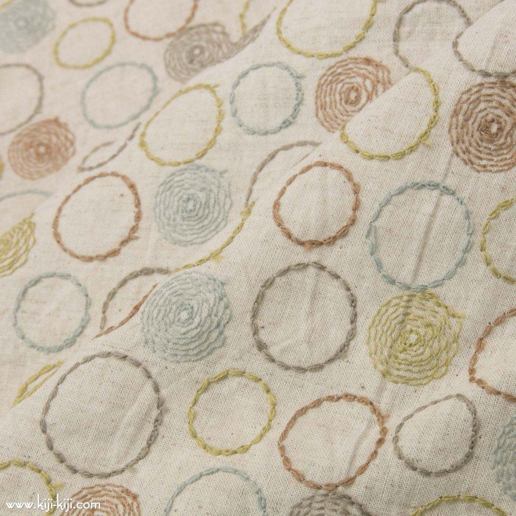 【レース】【cotton linen】ナチュラルリングレース×コットンリネンワッシャー|ナチュラル|