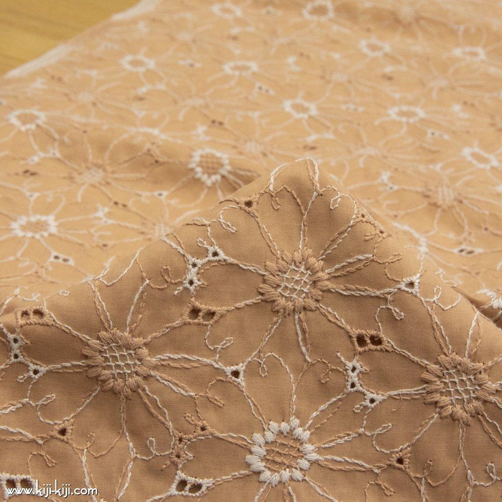 【レース】【cotton】2色の刺繍糸のコットンエンブロイダリーレース|マーガレット刺繍|コットンローン|スモークオレンジ|
