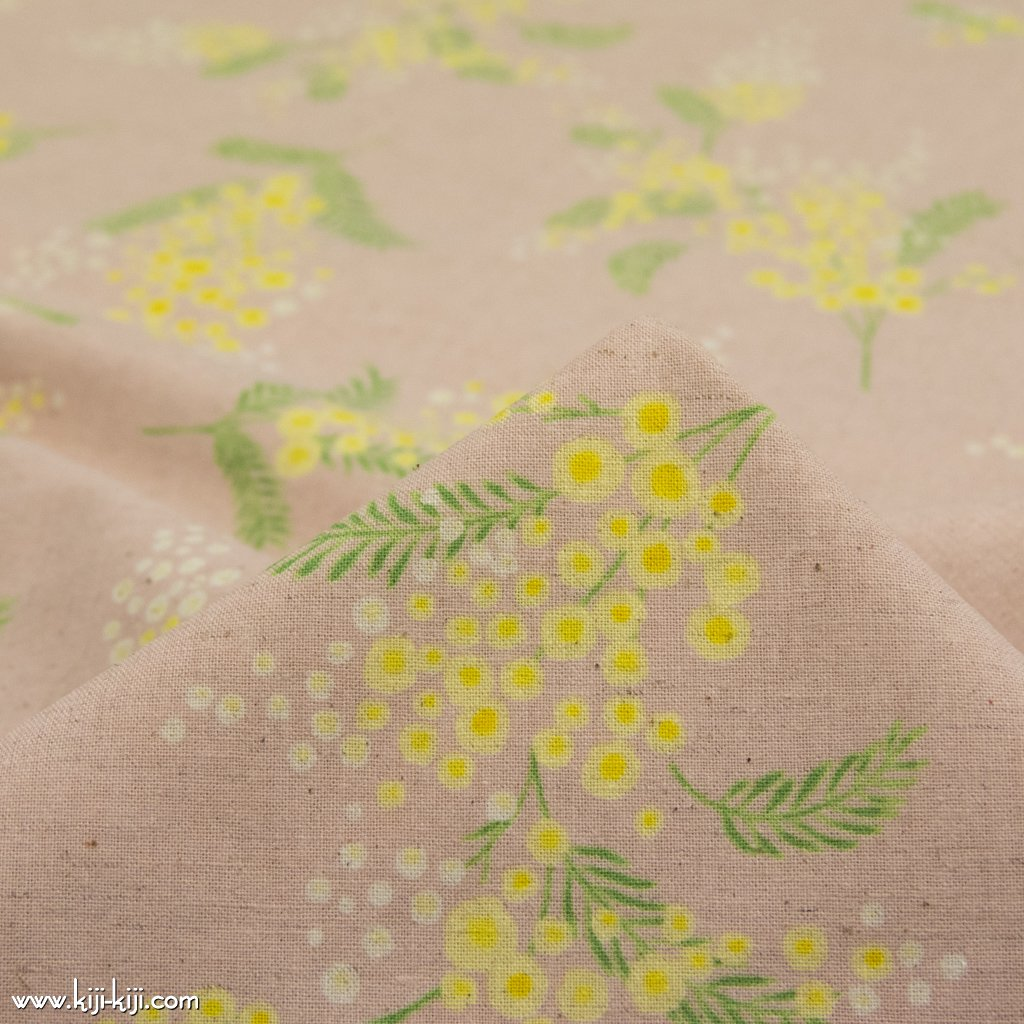 【cotton linen】mimosa bouquet dot|ミモザブーケのポルカドット|コットンリネンシーチング|ナチュラルピンク|
