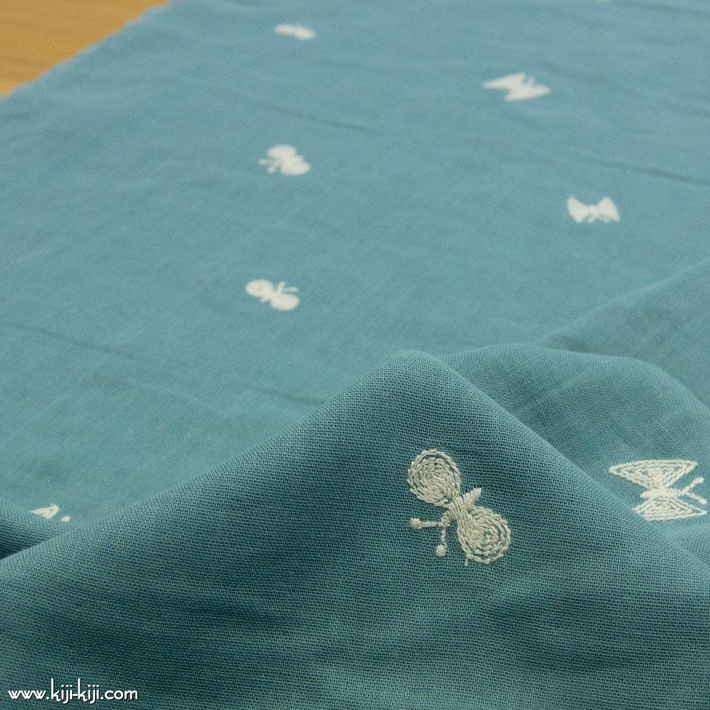 【レース】【wg】ちょうちょのダブルガーゼ刺繍|ダブルガーゼ|チョウチョ柄|スモークブルーグリーン|