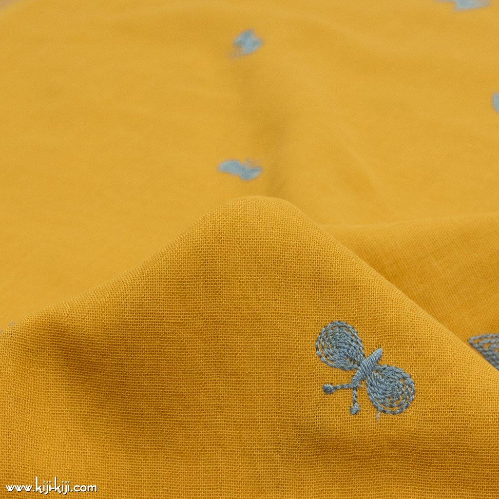 【レース】【wg】ちょうちょのダブルガーゼ刺繍|ダブルガーゼ|チョウチョ柄|イエローマスタード|