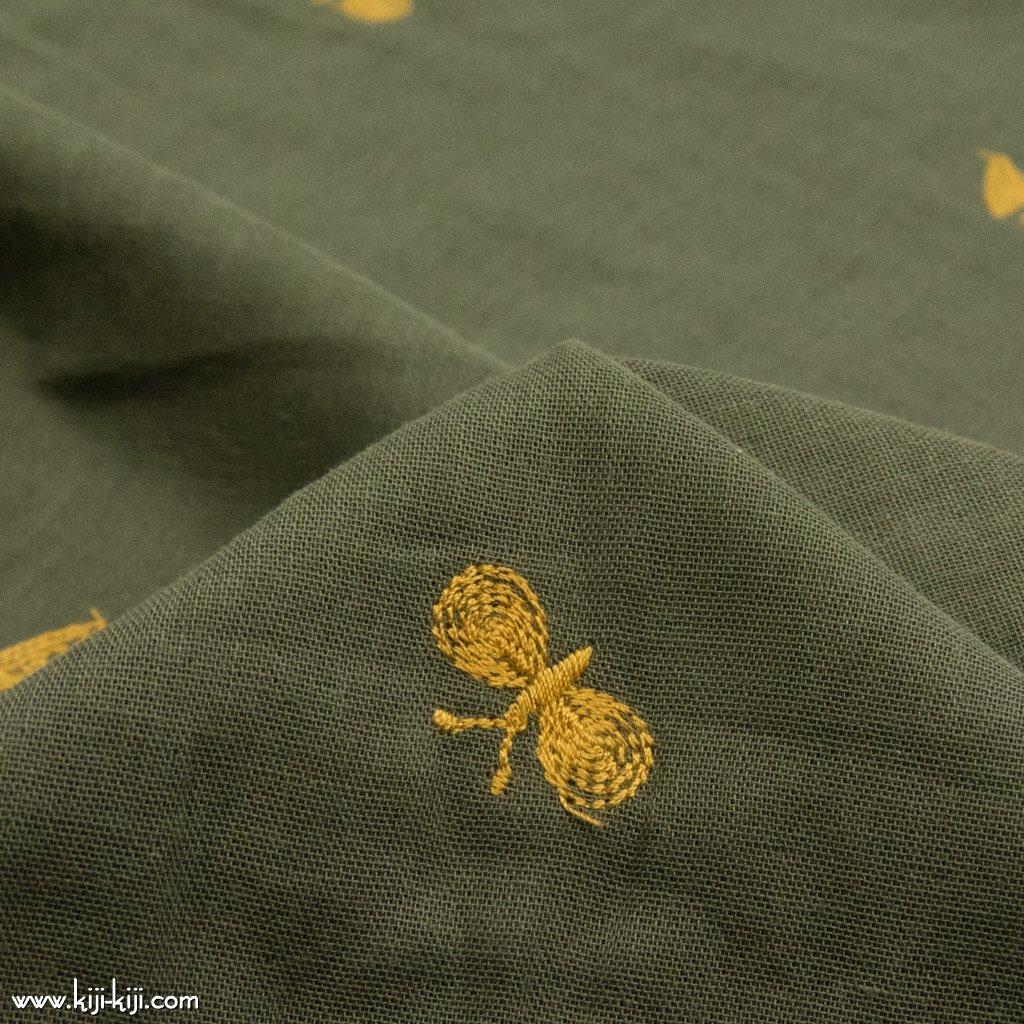 【レース】【wg】ちょうちょのダブルガーゼ刺繍|ダブルガーゼ|チョウチョ柄|オリーブ|