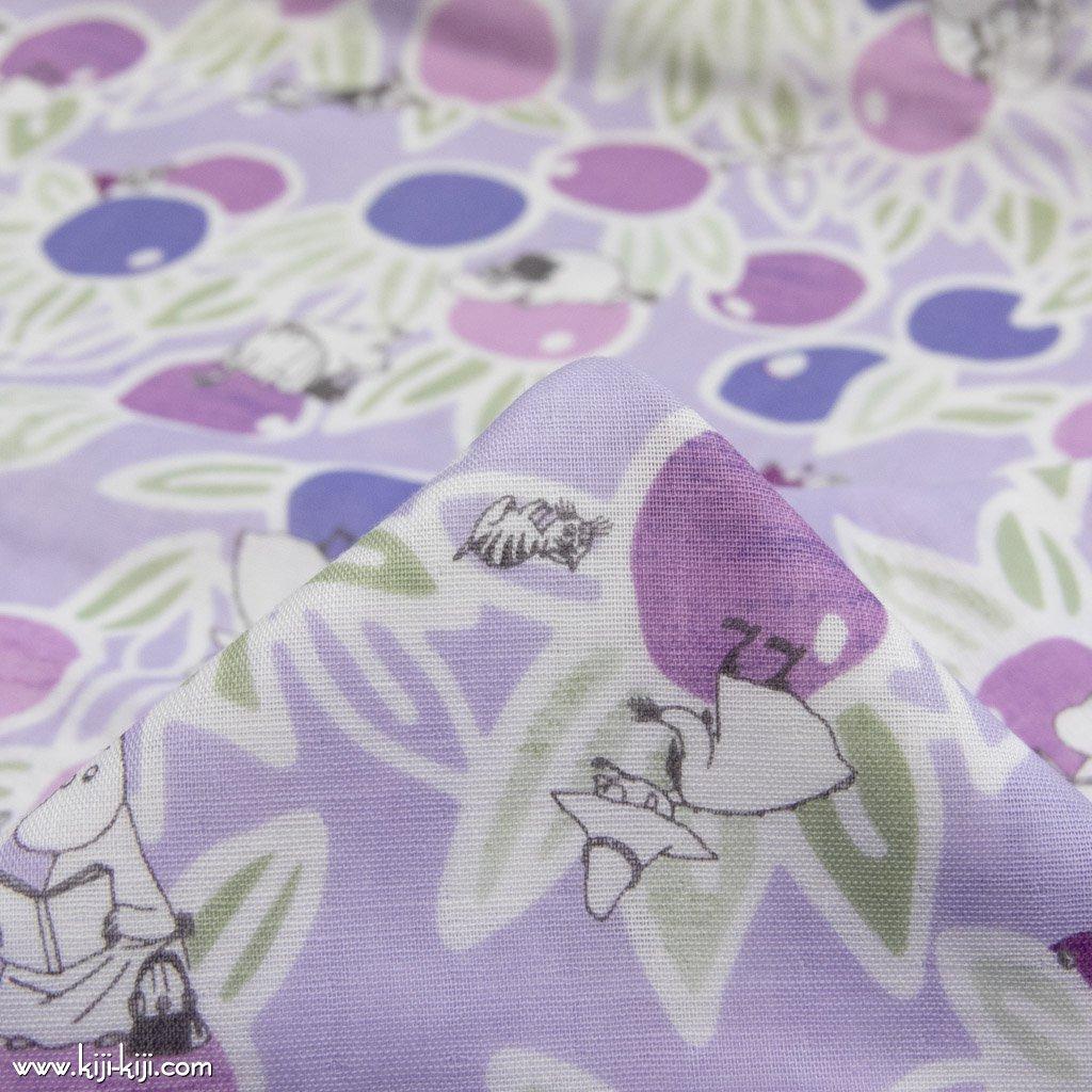 【wg】Moomin fabrics|気ままな午後|ムーミン|コットンダブルガーゼ|スモークパープル|