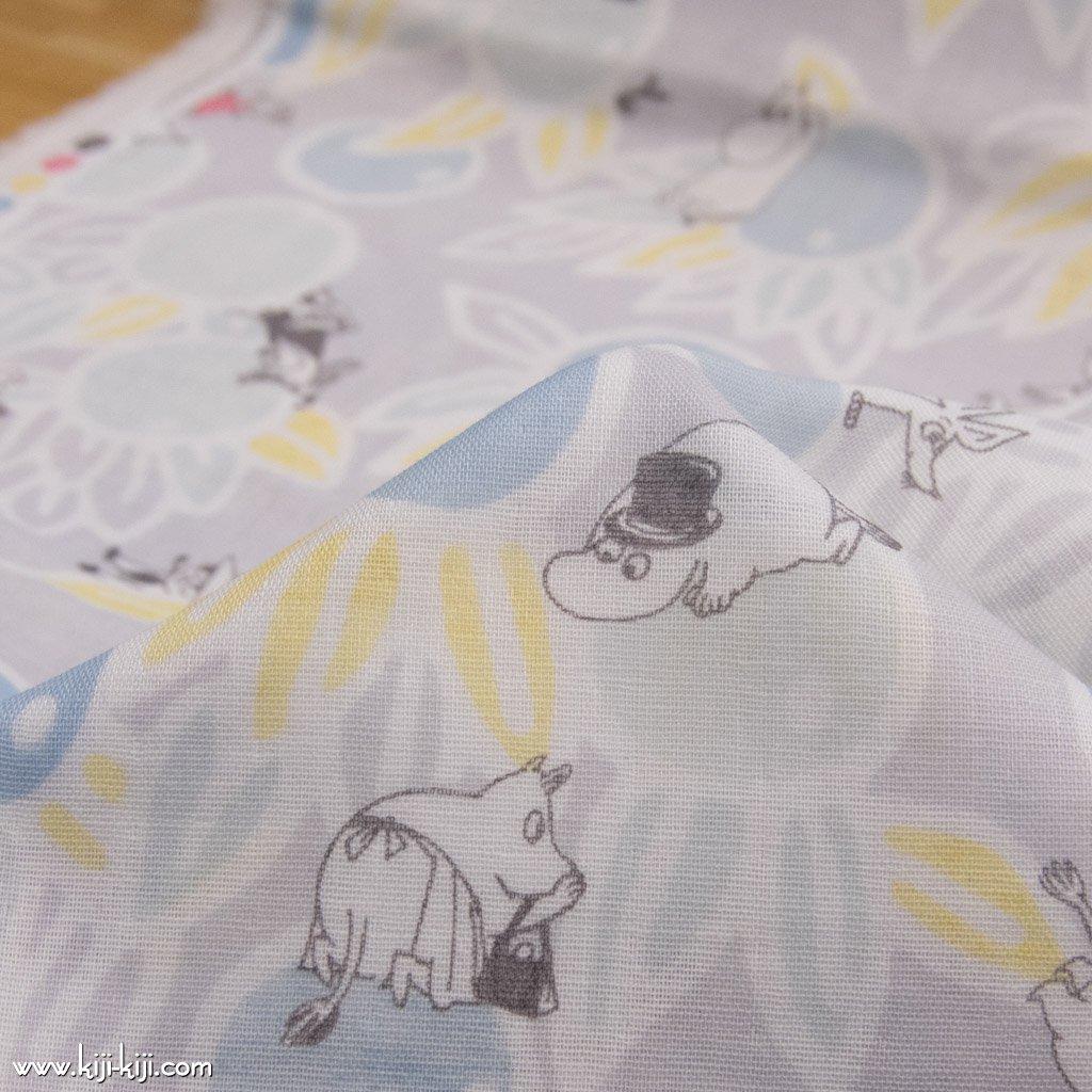 【wg】Moomin fabrics|気ままな午後|ムーミン|コットンダブルガーゼ|ライトグレー|