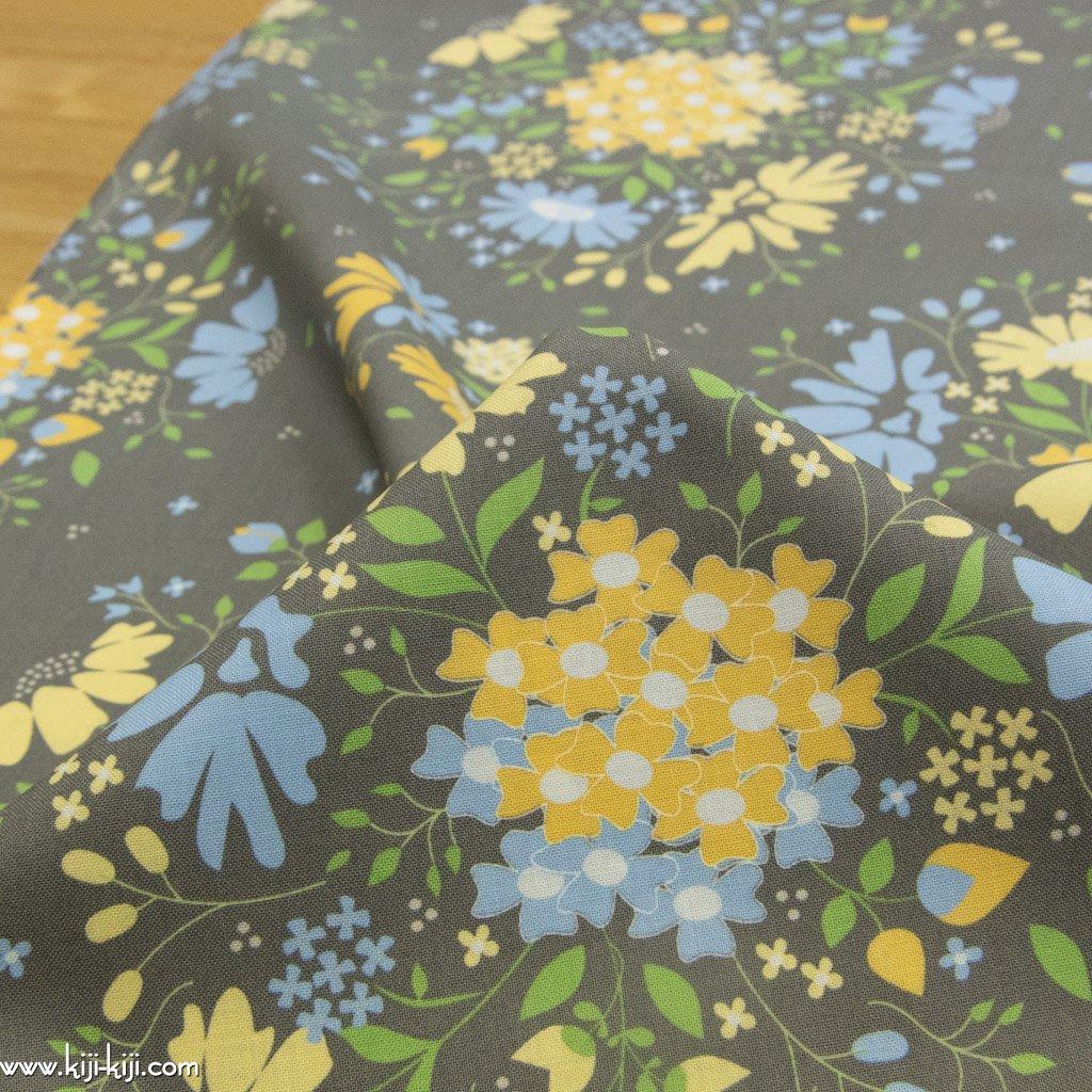 【USAコットン】spring brook|春の花たち|コットンシーチング|moda社|グレー|