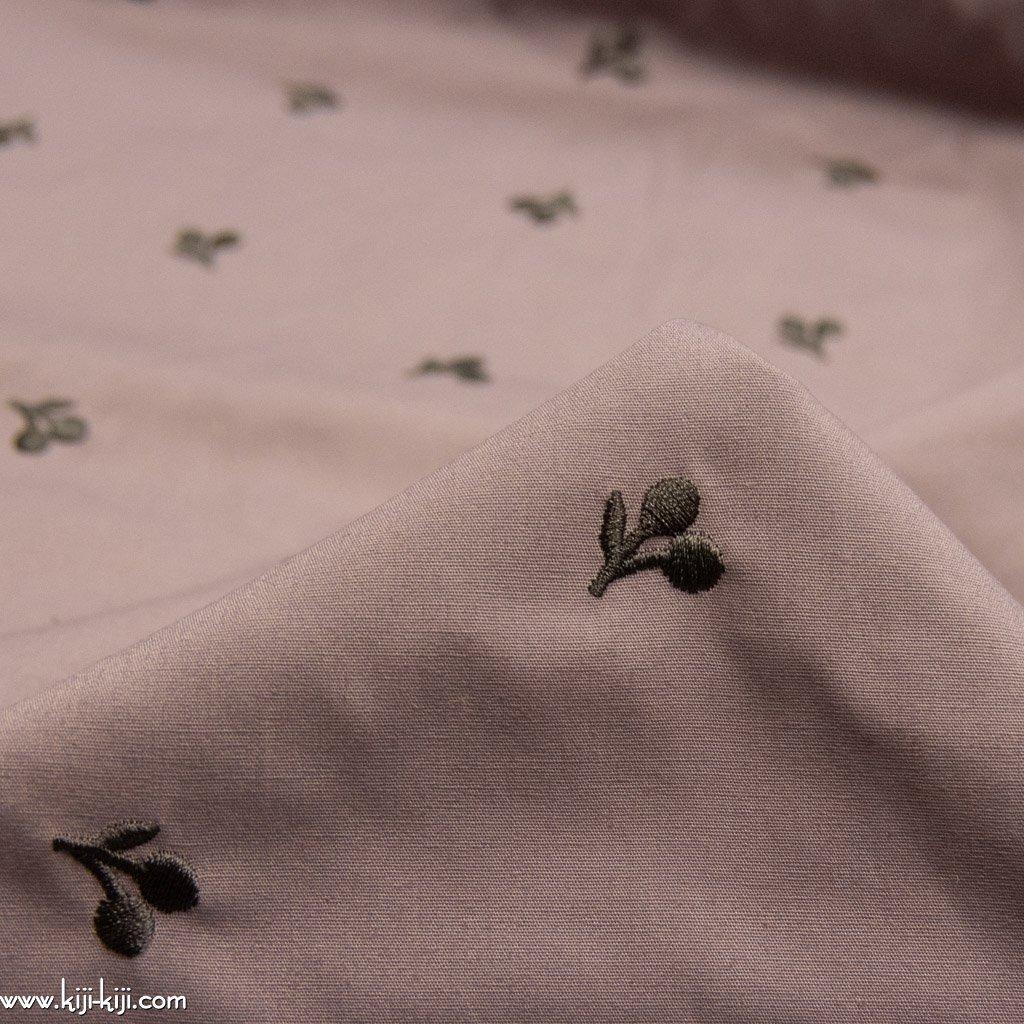 【刺繍】【cotton】スモークカラーのチェリー刺繍|ブロード刺繍|グレーピンク|