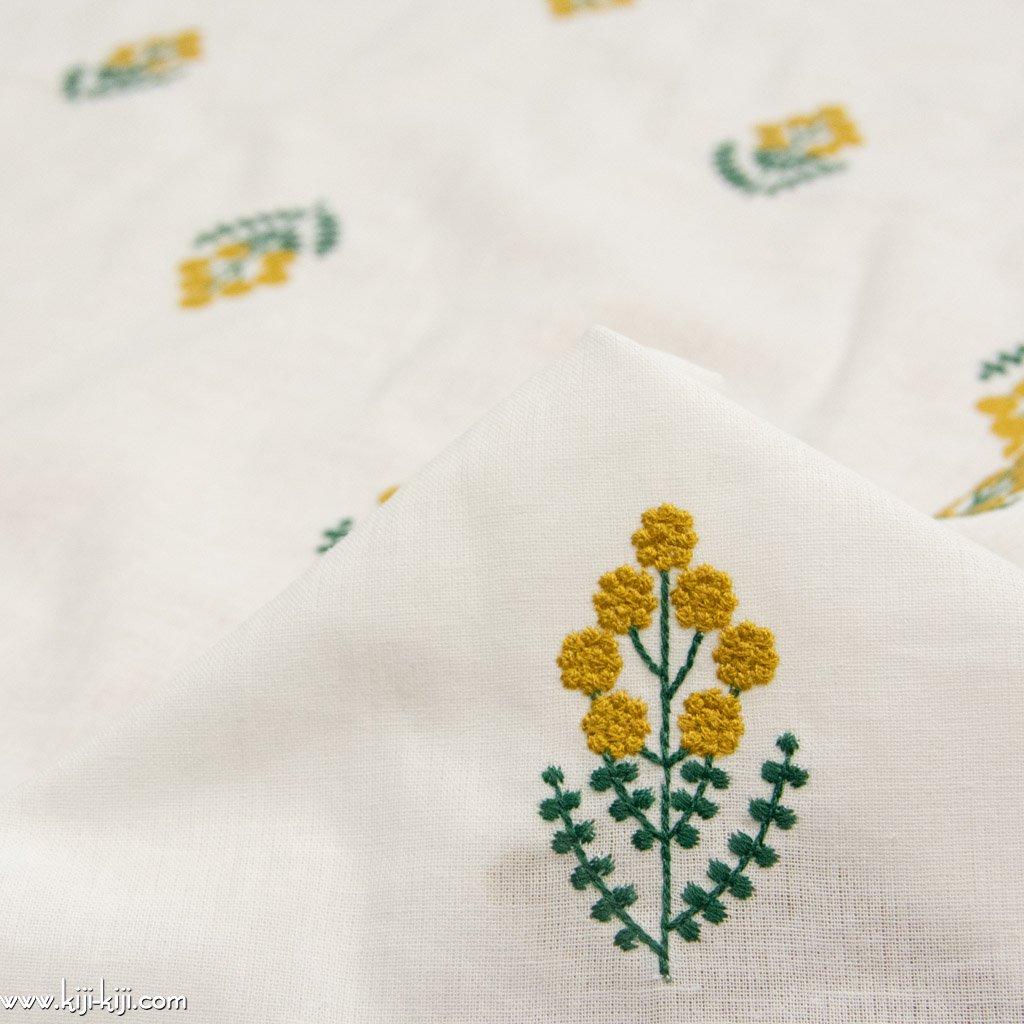 【レース】【cotton linen】コットンリネンのミモザレース|つぶつぶミモザの刺繍|ホワイト|