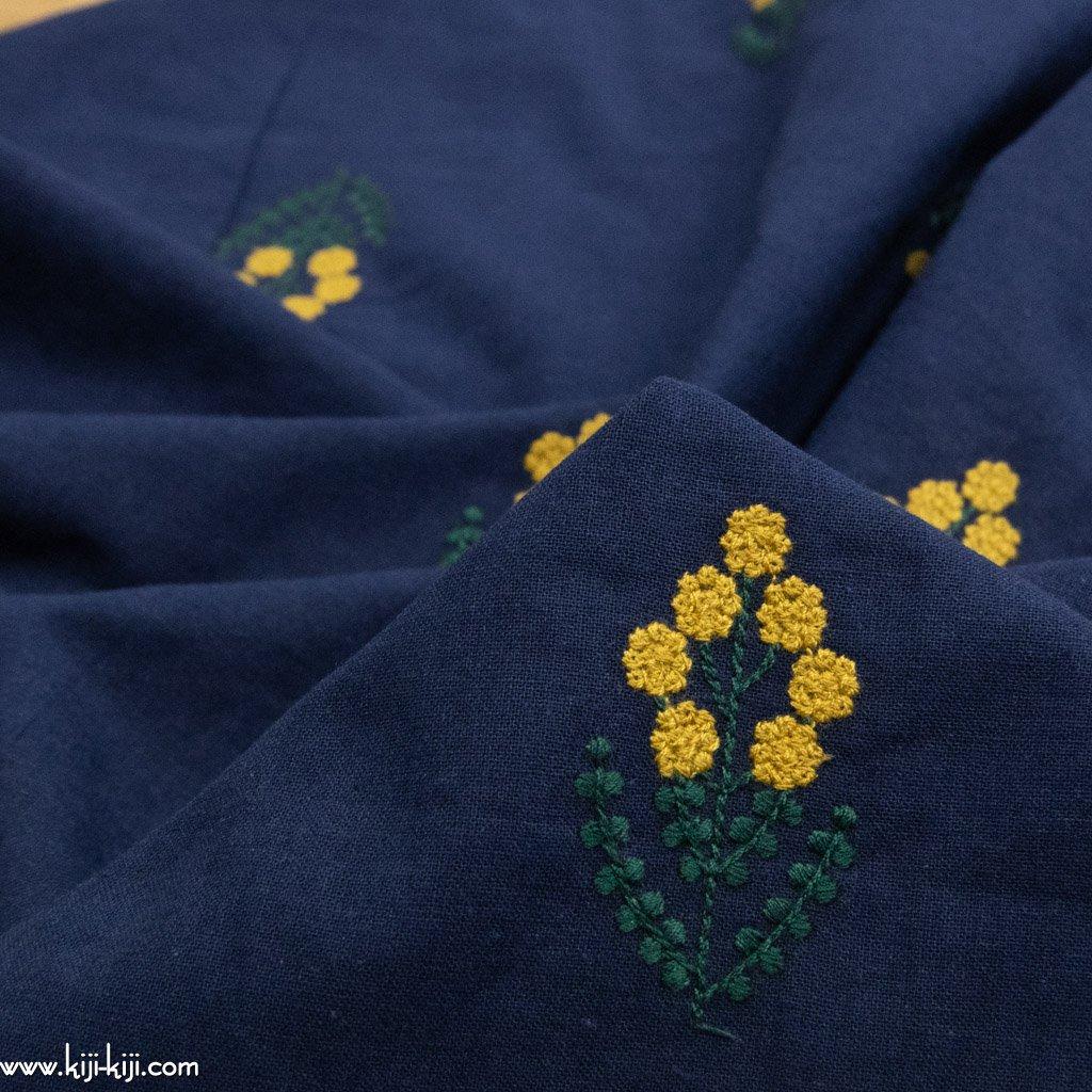 【レース】【cotton linen】コットンリネンのミモザレース|つぶつぶミモザの刺繍|ネイビー|