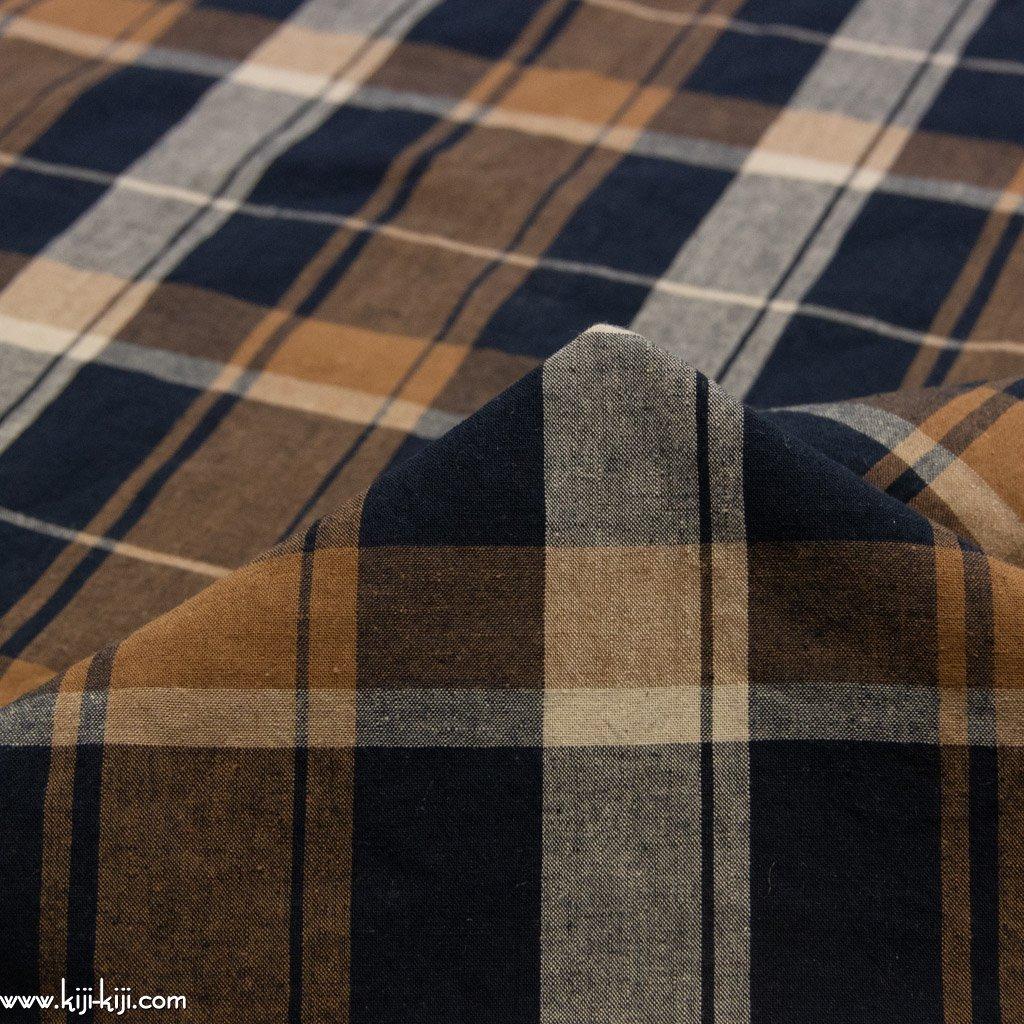 【cotton linen】西脇で織られたコットンリネンの大きめチェック コットンリネン ブラウン+ブラック 