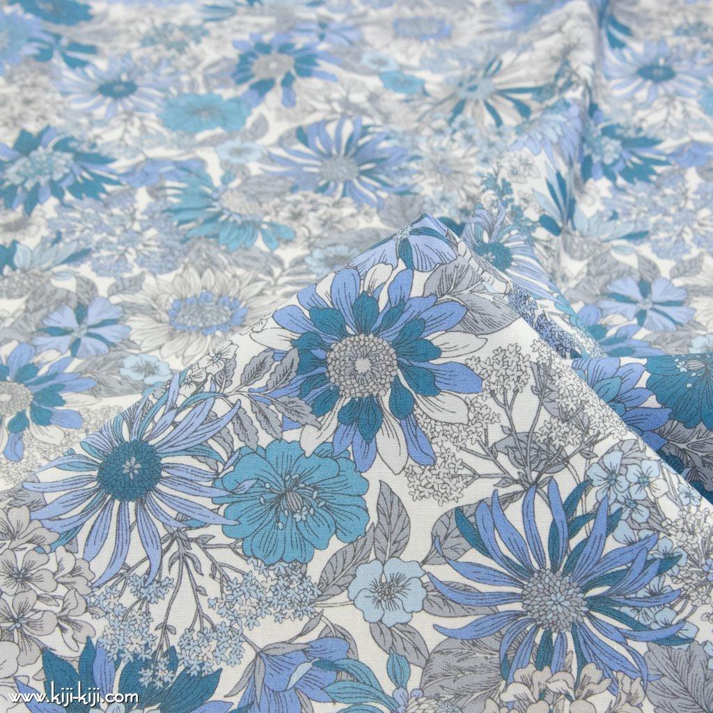 【コットンブロード】botanical flowers|ボタニカルフラワーズ|コットンブロード|ブルーグレー|