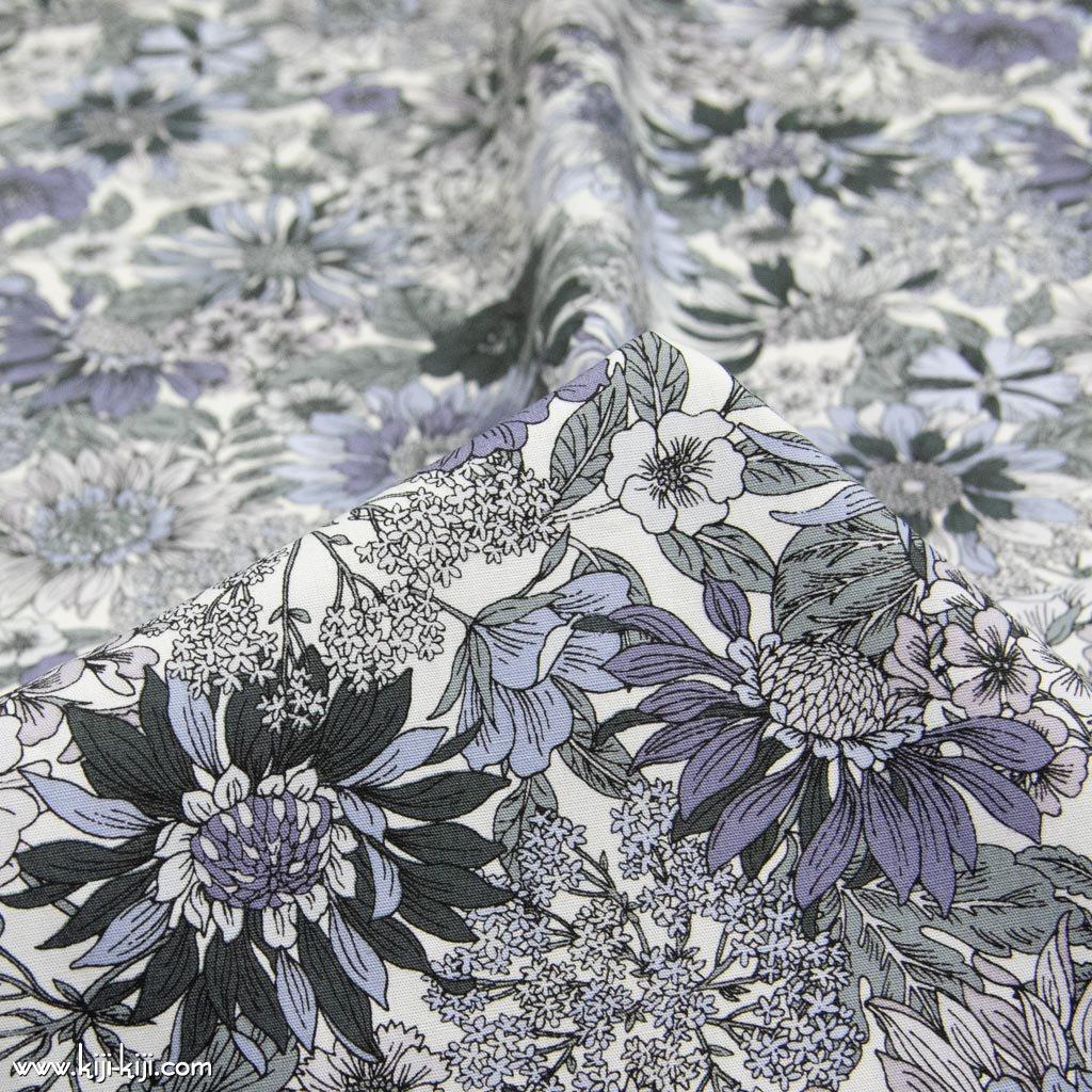 【コットンブロード】botanical flowers|ボタニカルフラワーズ|コットンブロード|グレー|