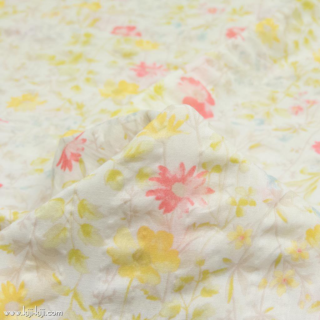【cotton】english garden flowers|シングルガーゼ|ストライプ塩縮|スプリング|