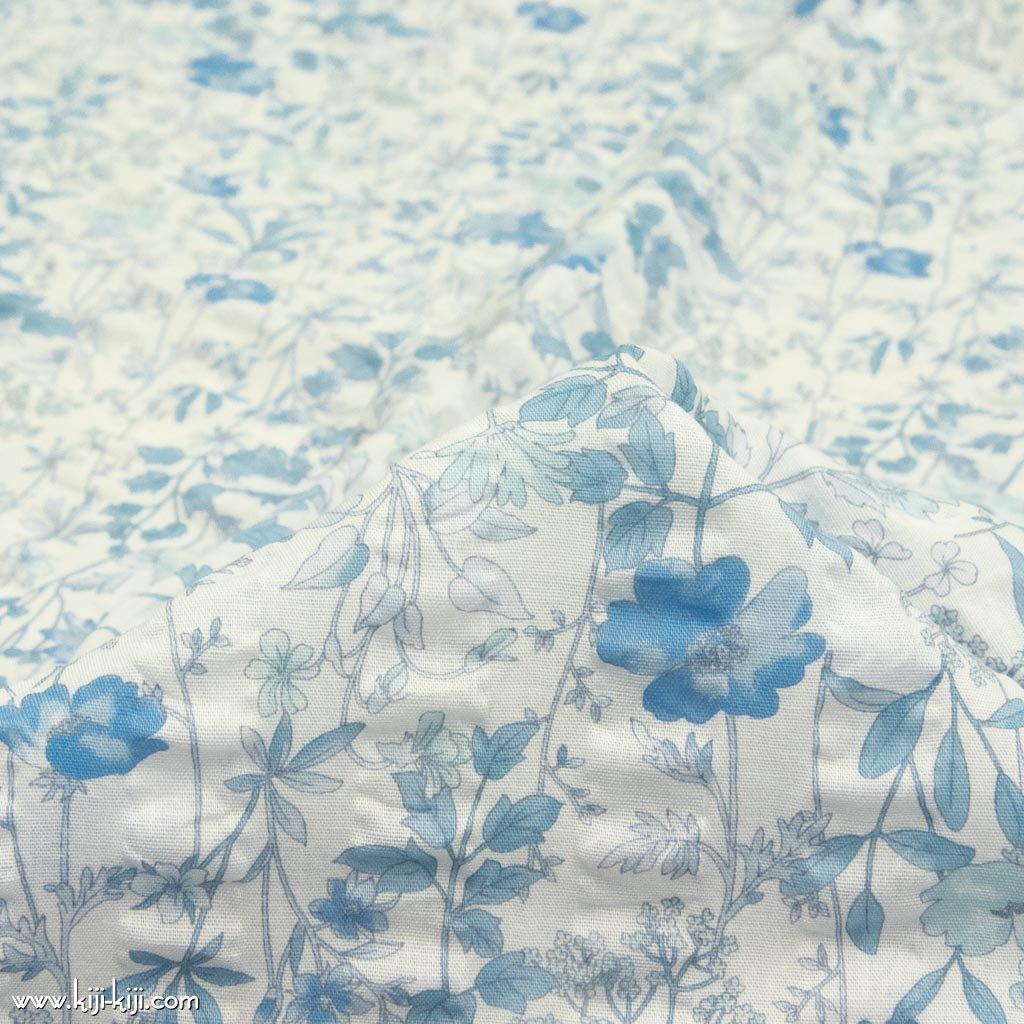 【cotton】english garden flowers|シングルガーゼ|ストライプ塩縮|ホワイトブルー|