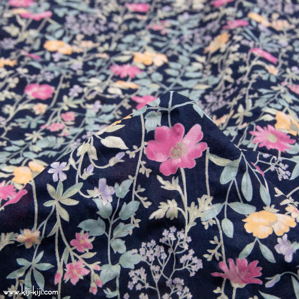 【cotton】english garden flowers|シングルガーゼ|ストライプ塩縮|ネイビー|