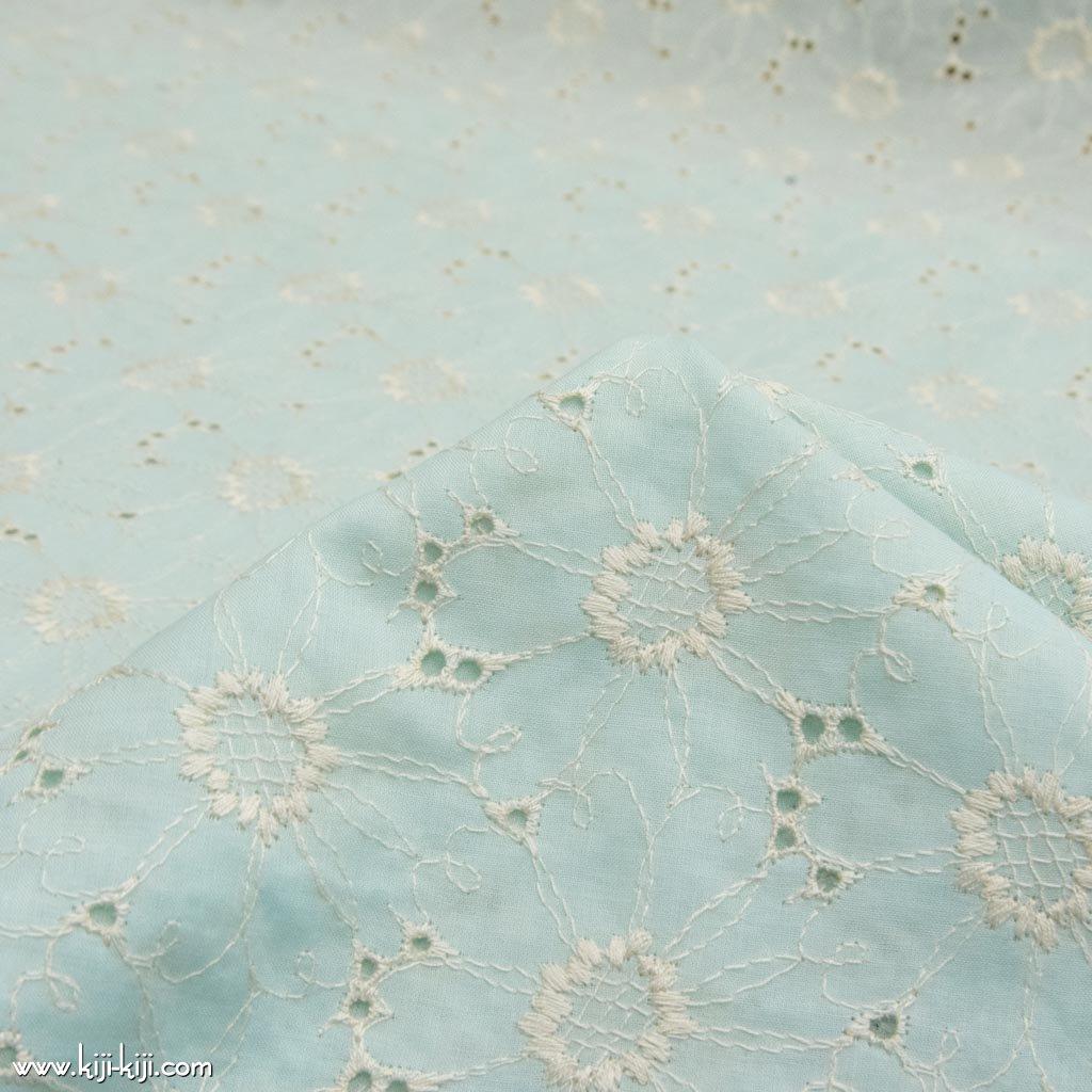 【レース】【cotton】marguerite lace|マーガレットデザインレース|両耳スカラップ|コットンローン|ペールミント|