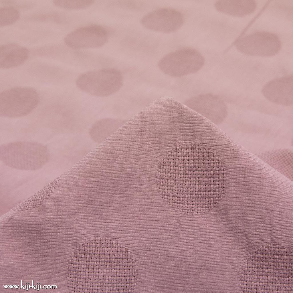 【cotton linen】【約3cmドット】くしゅっとしたコットンリネンのドットジャガード|カラミ織|スモークピンク|