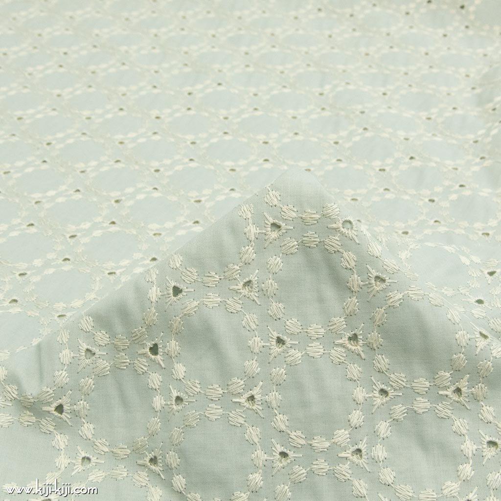 【レース】【cotton】circle lace|サークルデザインレース|両耳スカラップ|コットンローン|スモークミント|