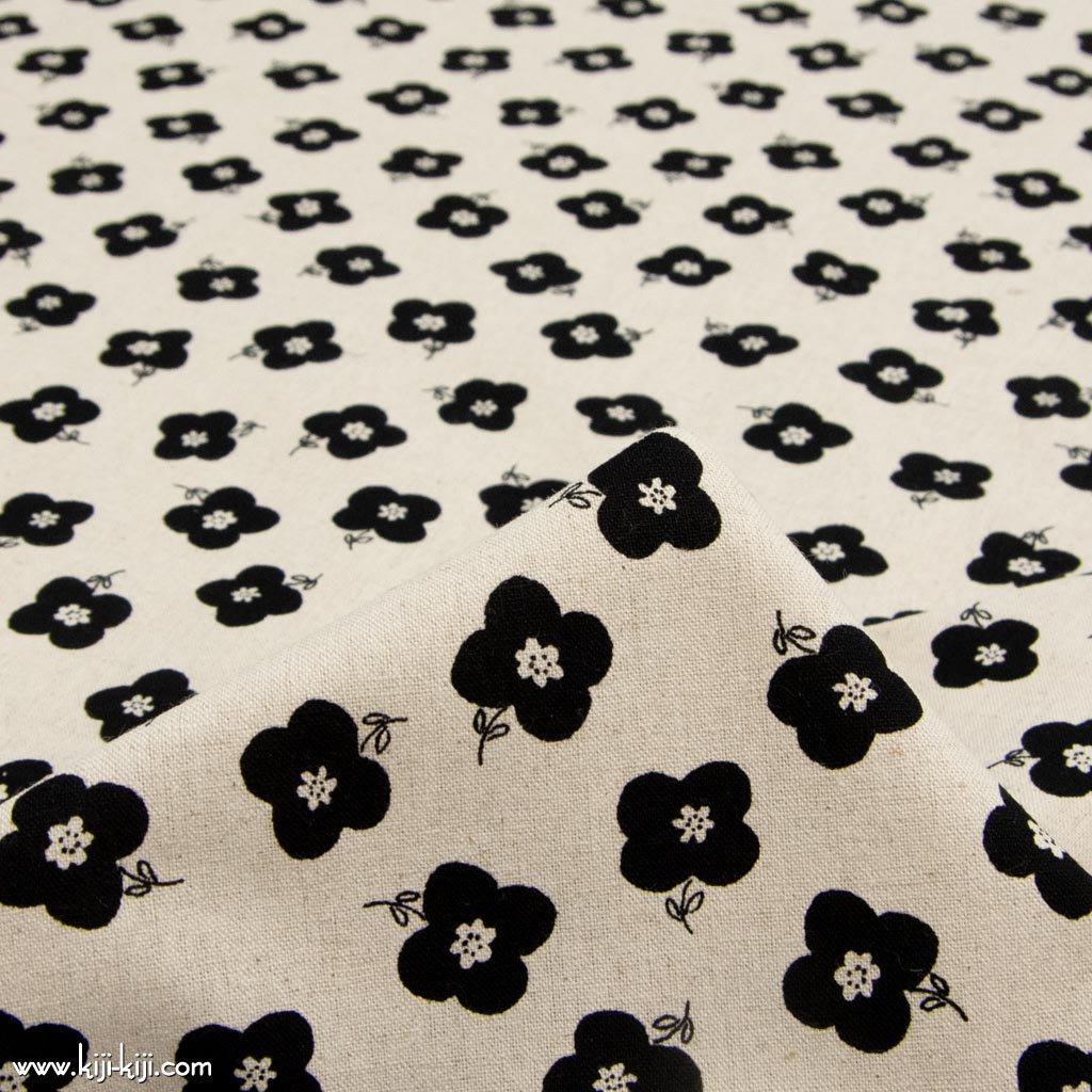 【cotton linen】monotone flower|モノトーンフラワー|コットンリネンキャンバス|ナチュラルブラック|