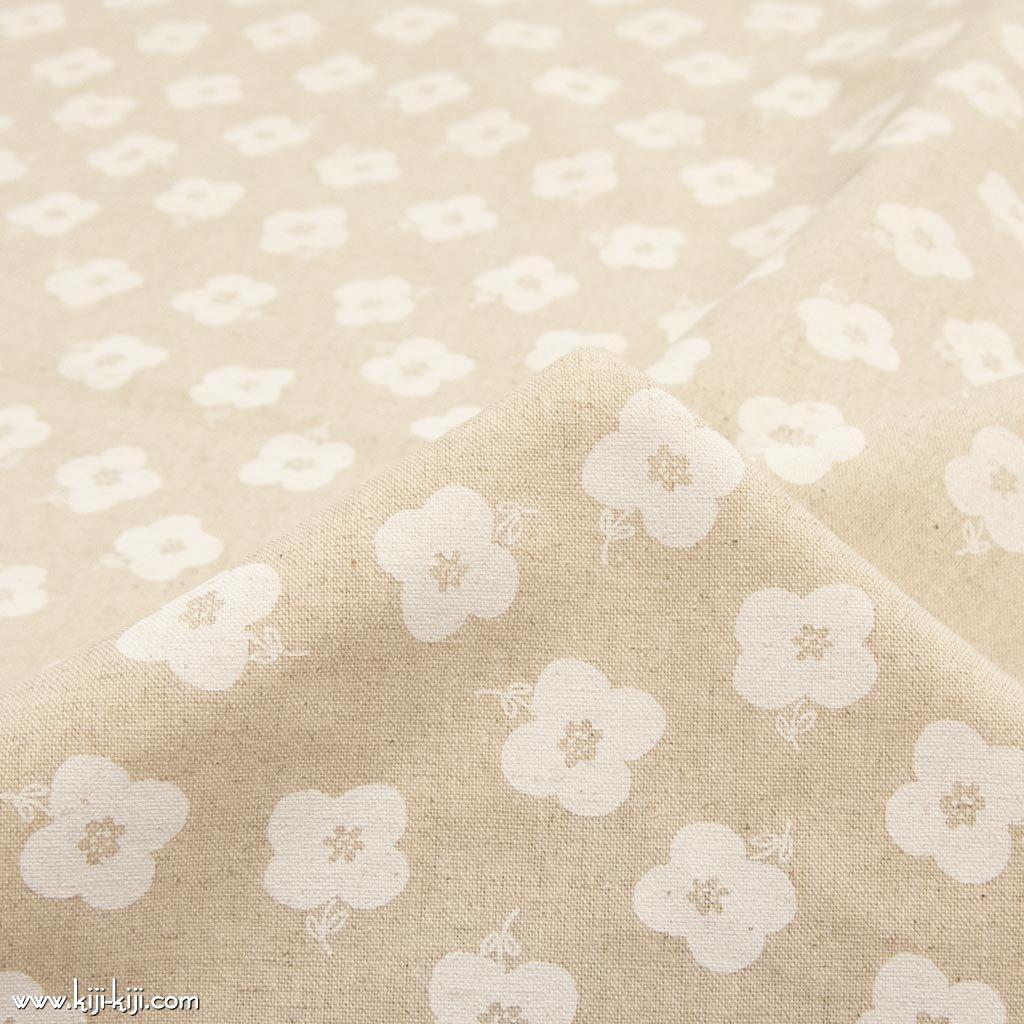 【cotton linen】monotone flower|モノトーンフラワー|コットンリネンキャンバス|ナチュラルホワイト|