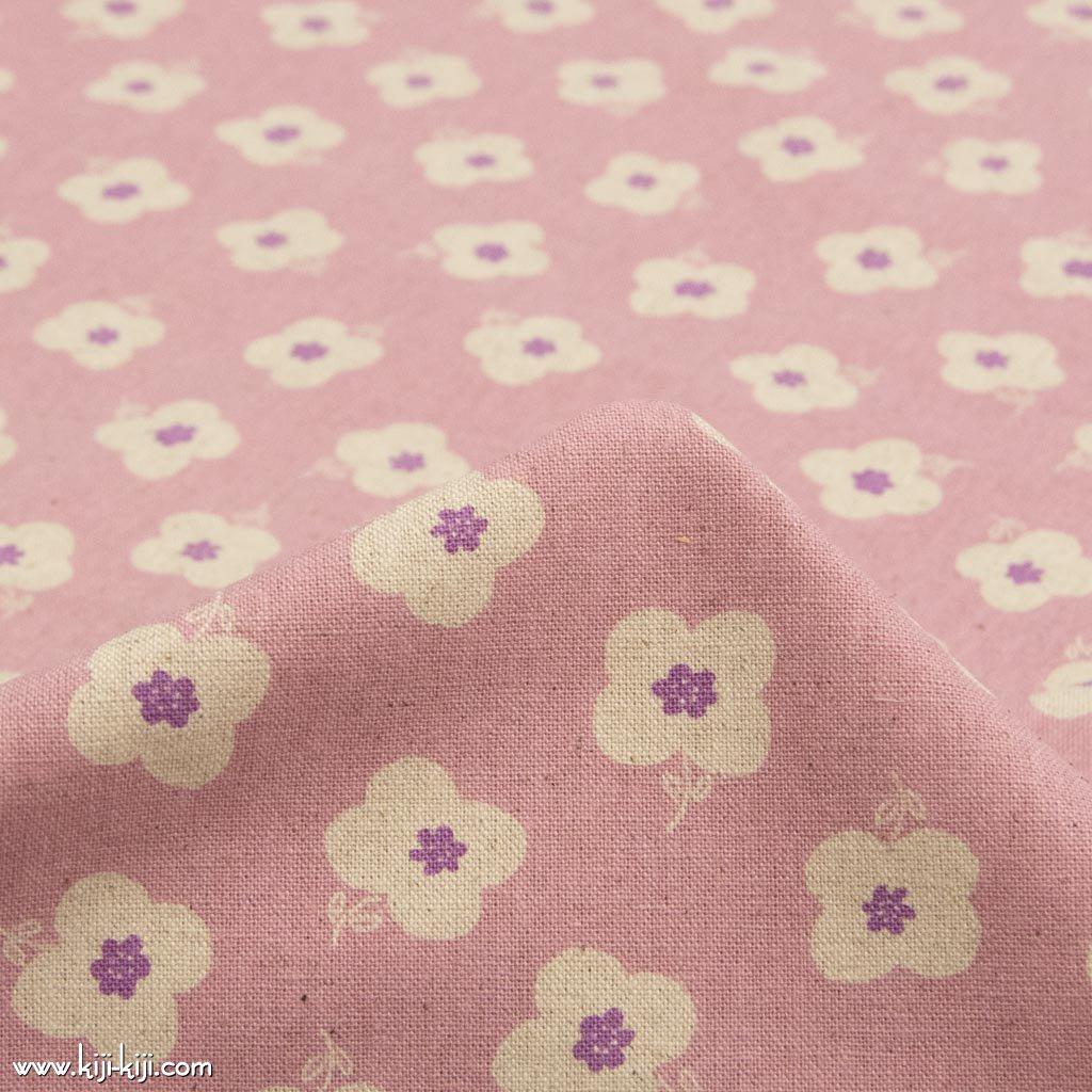 【cotton linen】monotone flower|モノトーンフラワー|コットンリネンキャンバス|ピンク|
