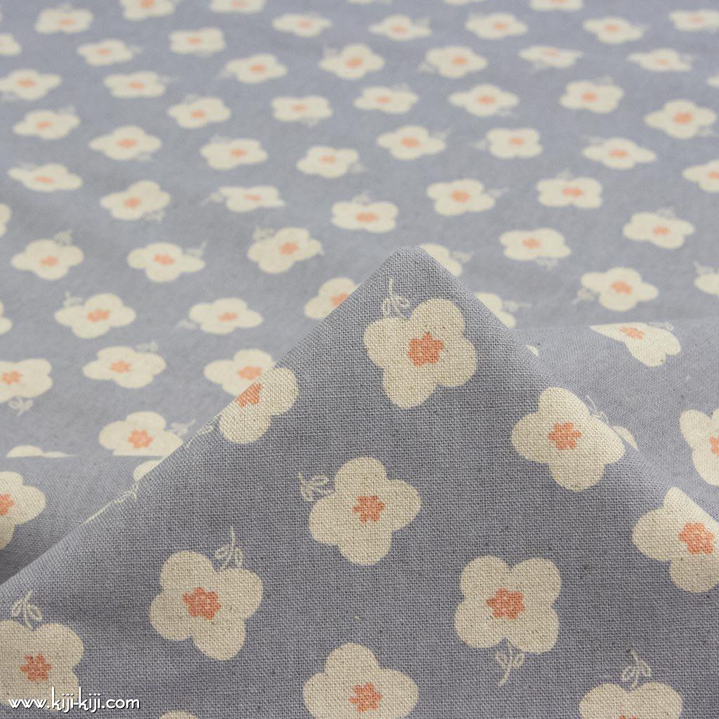 【cotton linen】monotone flower|モノトーンフラワー|コットンリネンキャンバス|グレー|