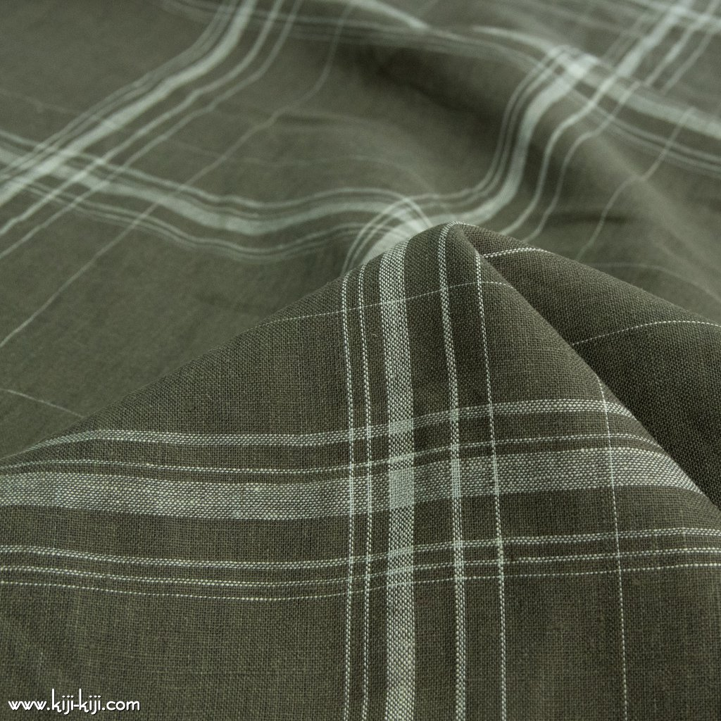 【sale】【linen】60 linen check|60リネンチェック|140cm巾|細番手リネン生地|オリーブ|<img class='new_mark_img2' src='https://img.shop-pro.jp/img/new/icons20.gif' style='border:none;display:inline;margin:0px;padding:0px;width:auto;' />