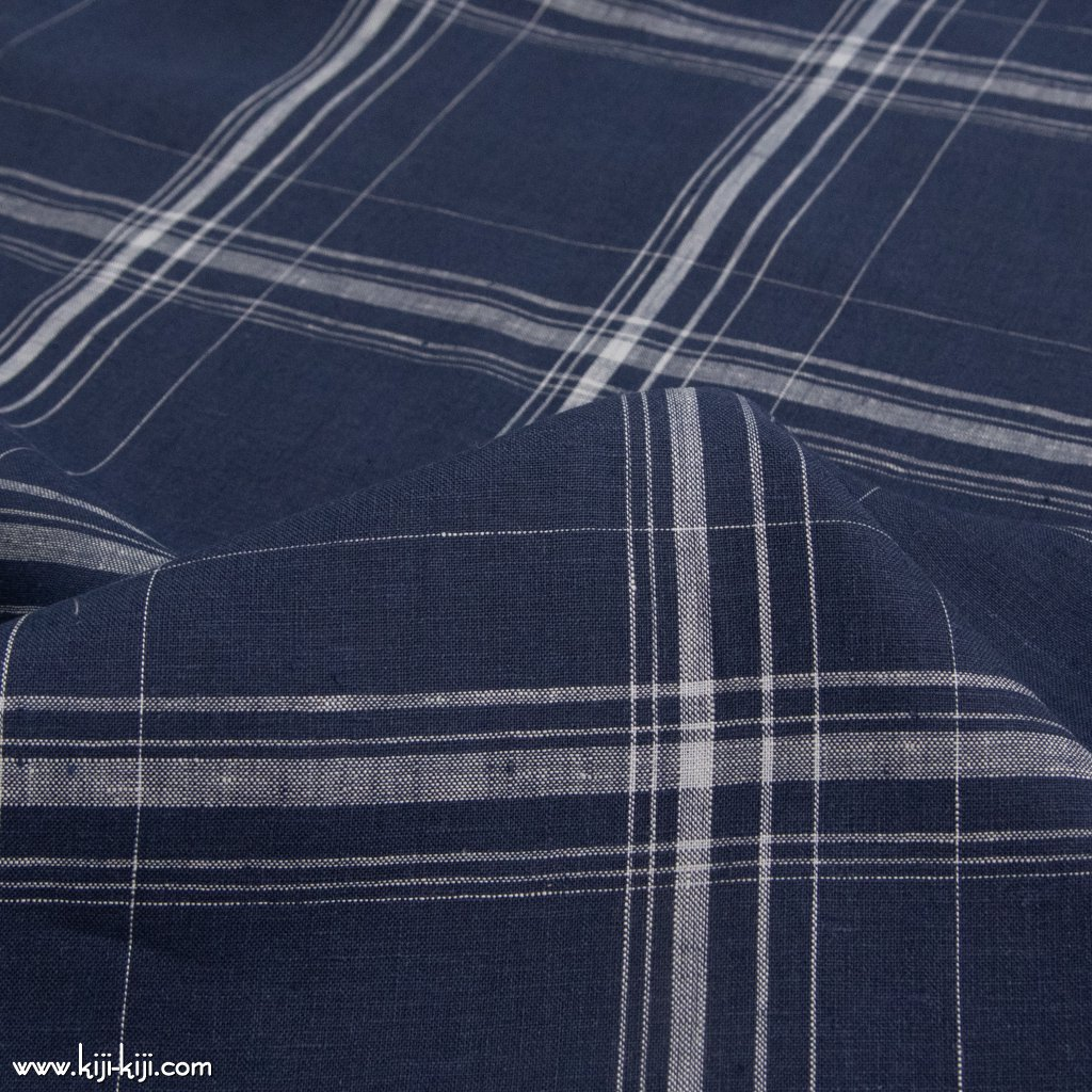 【sale】【linen】60 linen check|60リネンチェック|140cm巾|細番手リネン生地|ネイビー|<img class='new_mark_img2' src='https://img.shop-pro.jp/img/new/icons20.gif' style='border:none;display:inline;margin:0px;padding:0px;width:auto;' />
