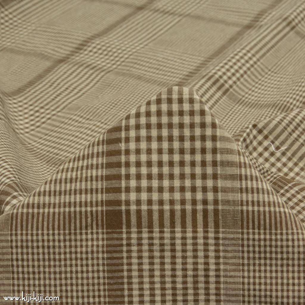 【sale】【cotton linen】洗いざらし風コットンリネンのcheck&check|アースカラーチェック|ワッシャー加工|ブラウンベージュ|<img class='new_mark_img2' src='https://img.shop-pro.jp/img/new/icons20.gif' style='border:none;display:inline;margin:0px;padding:0px;width:auto;' />
