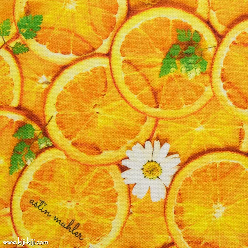 【コットンオックス】Orange Flower|インクジェットプリント|オレンジフラワー|