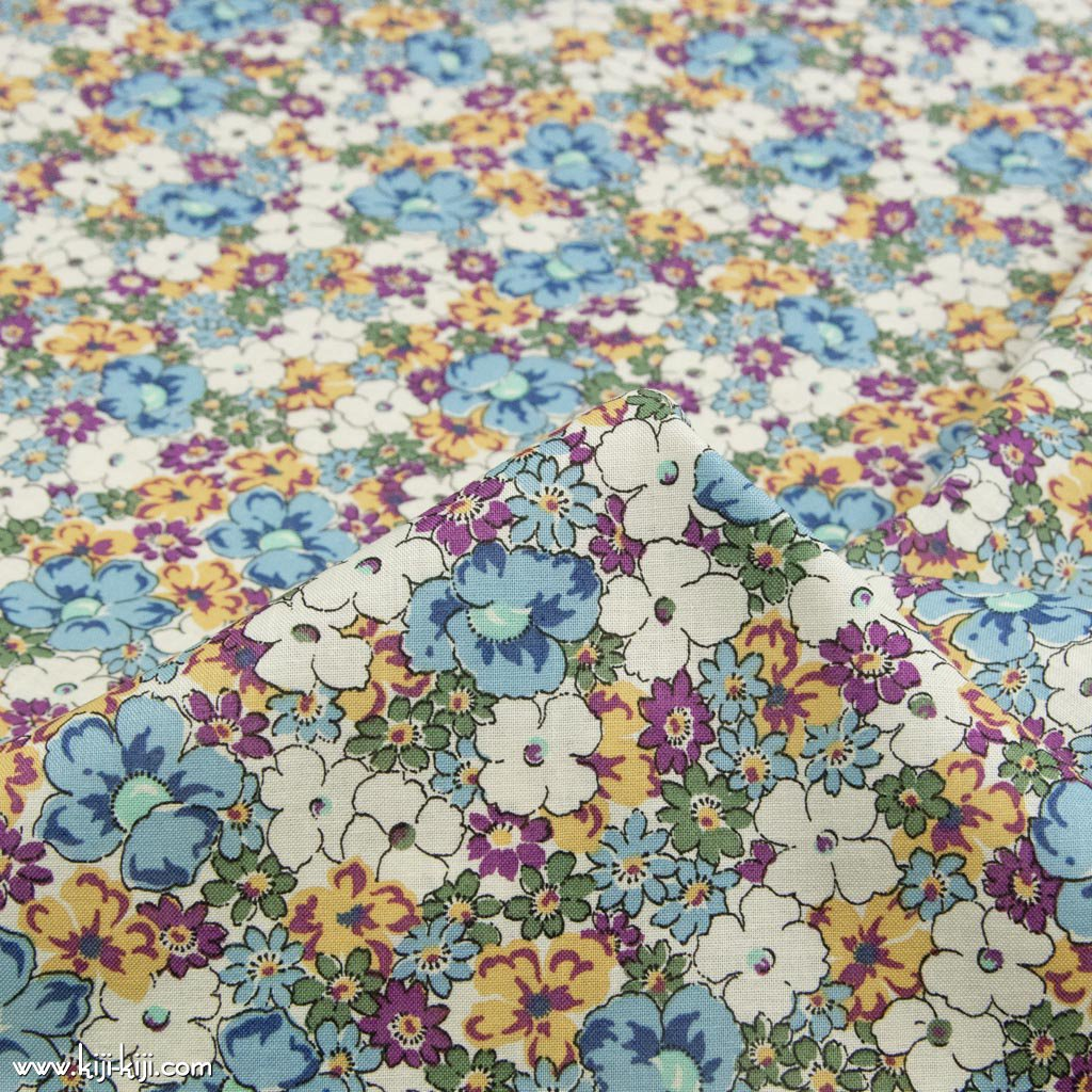 【sale】【cotton sheeting】bloom flowers|ブルームフラワーズ|花柄生地|シーチング生地|ブルーイエロー|<img class='new_mark_img2' src='https://img.shop-pro.jp/img/new/icons20.gif' style='border:none;display:inline;margin:0px;padding:0px;width:auto;' />