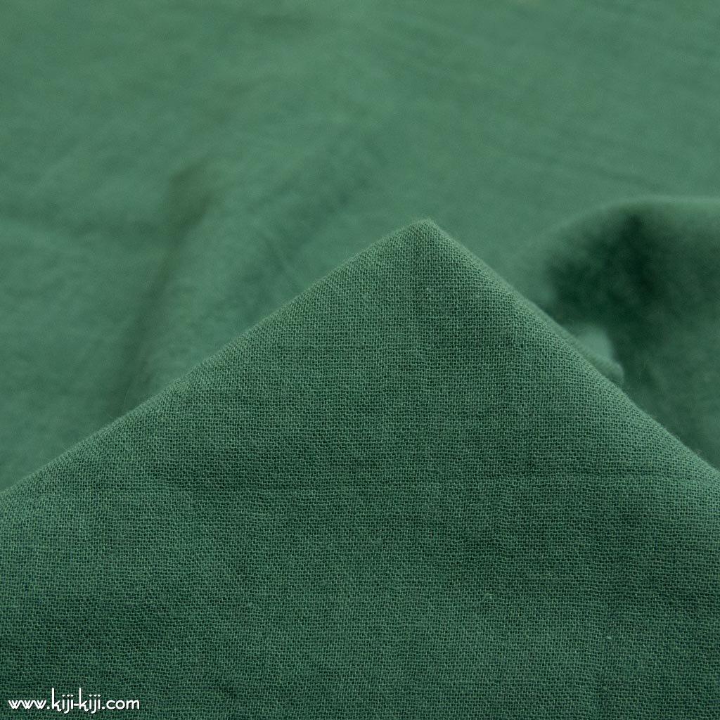 【wg】くったり仕上げのコットンダブルガーゼ ふんわりトリプルワッシャー加工 フォレストグリーン 