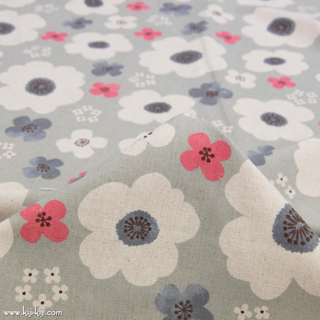 【cotton linen】nordico flowers|ノルディコフラワーズ|北欧風デザイン|花柄生地|コットンリネンキャンバス|ライトグレー|